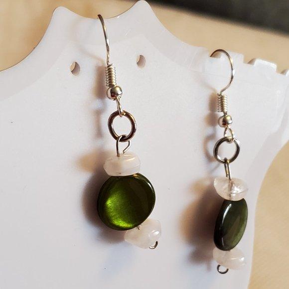 Silver Tone Hook Green Mother of Pearl Earrings